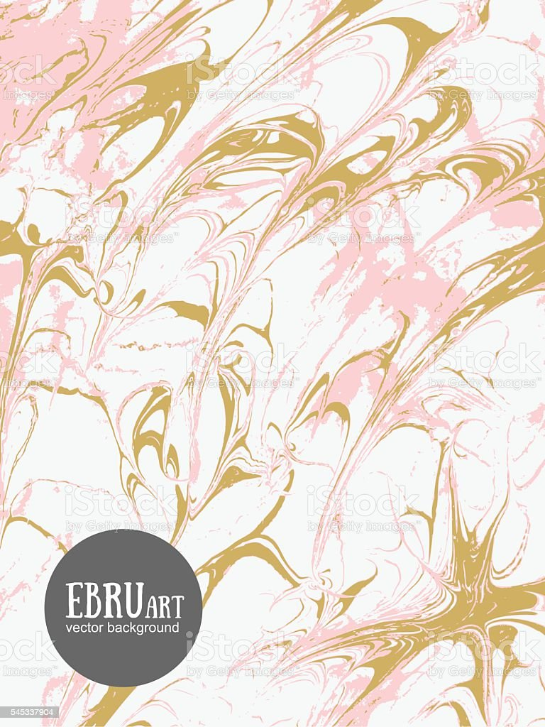 Vector abstract ebru background. Gold and pink splashes. vector art illustration