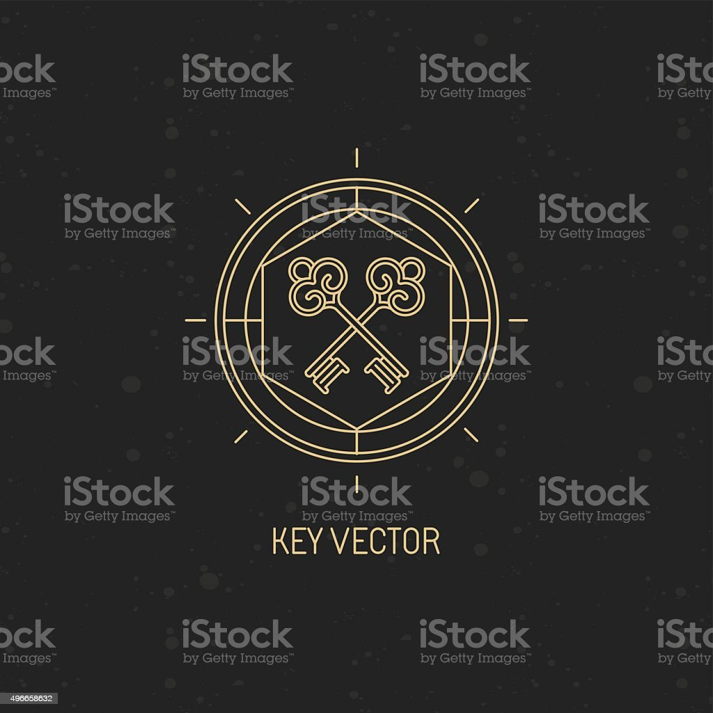 Vector abstract emblem in trendy linear style vector art illustration