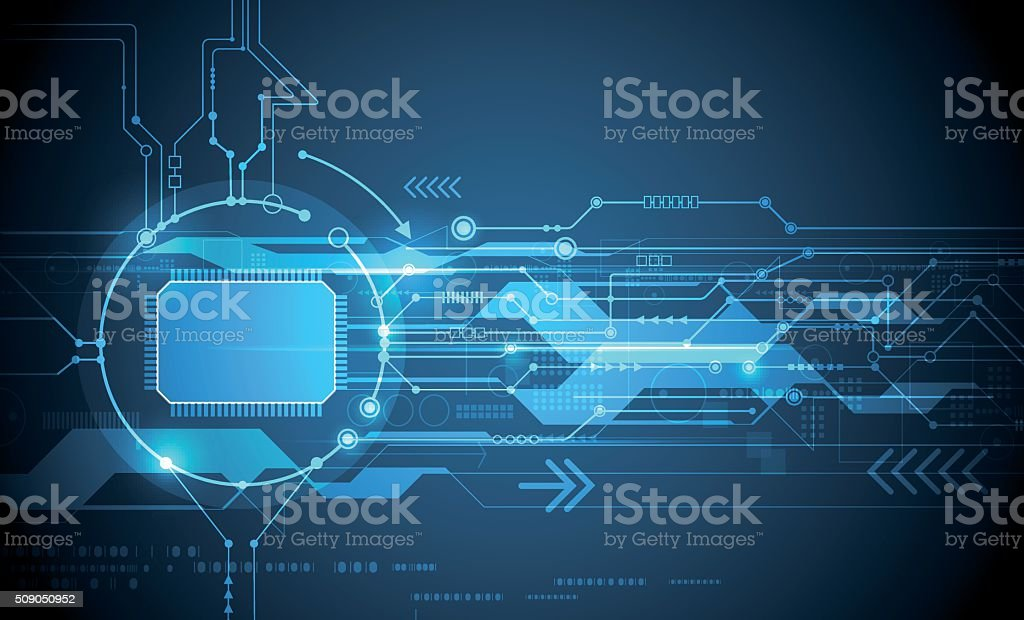 Vector Abstract futuristic circuit board and cpu vector art illustration