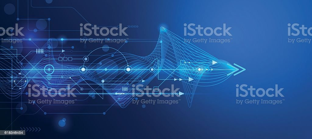 Vector Abstract futuristic, circuit board and mesh line vector art illustration