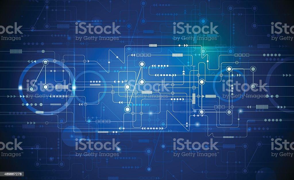 Vector Abstract futuristic circuit board vector art illustration