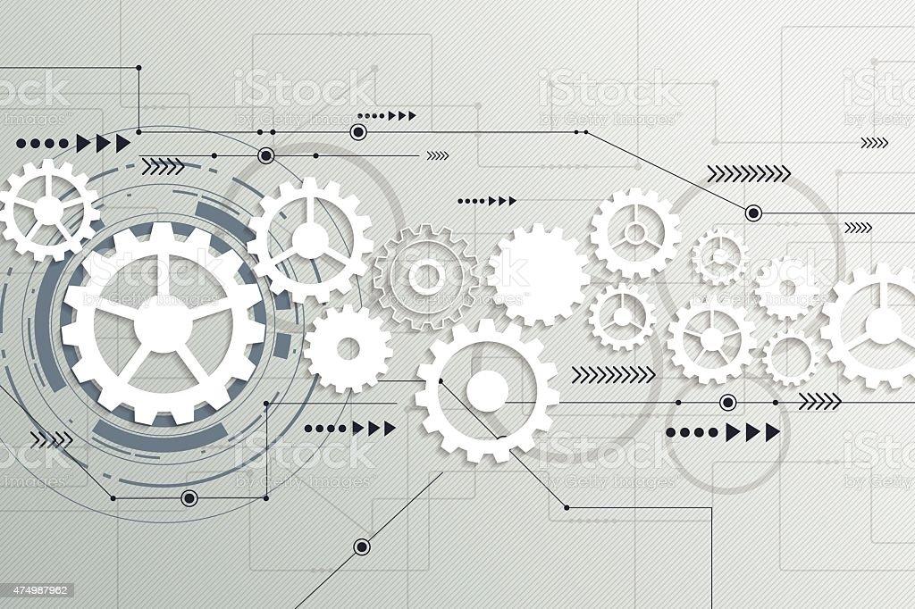 Vector abstract futuristic ,gear wheel engineering on circuit board vector art illustration