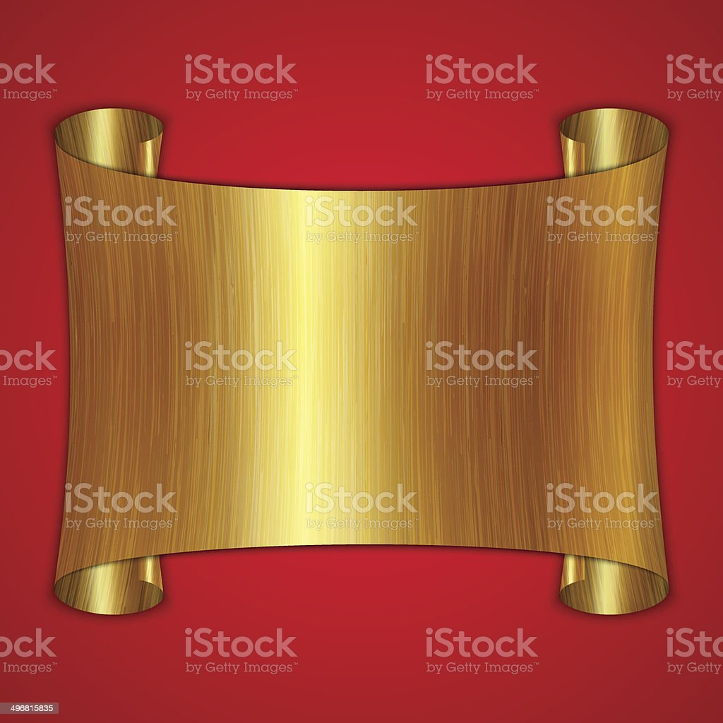 vector abstract gold award scroll plate on red background vector art illustration