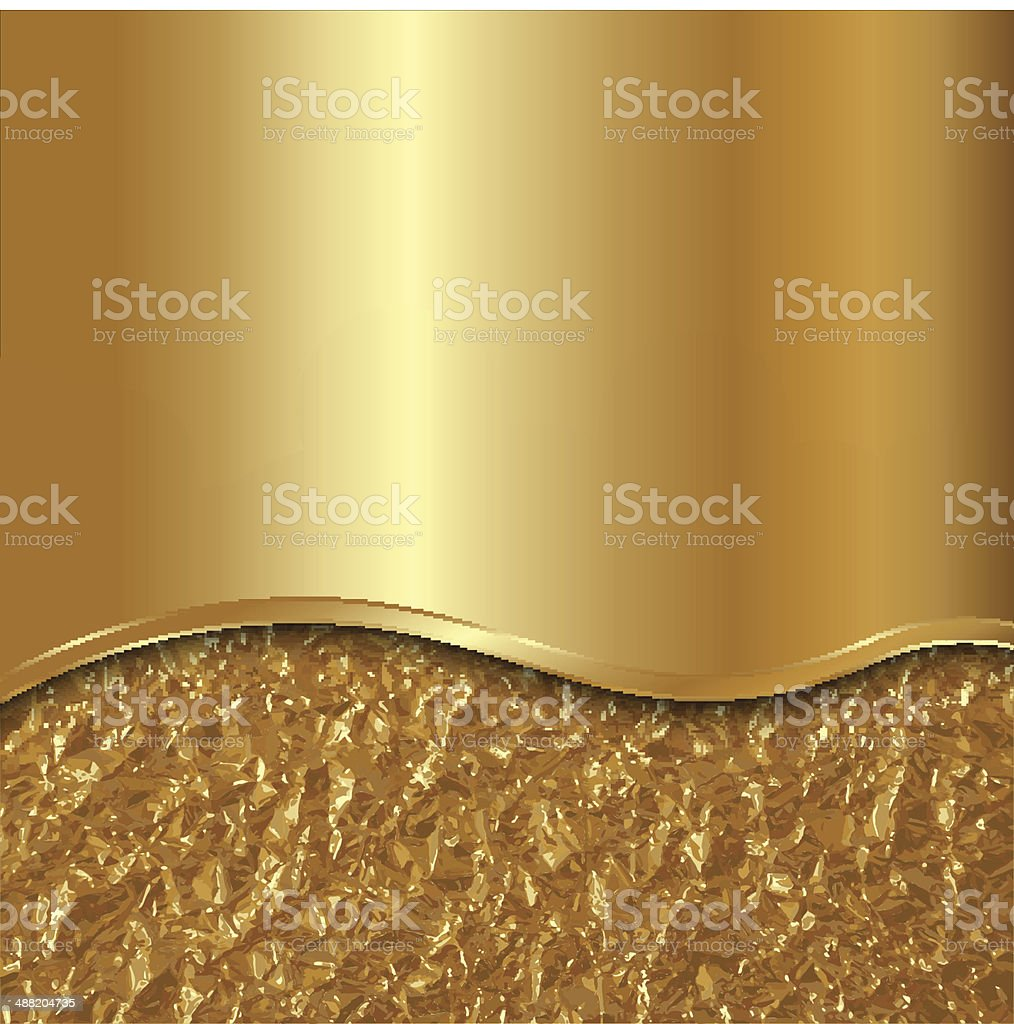 Vector abstract gold background with curve and foil vector art illustration