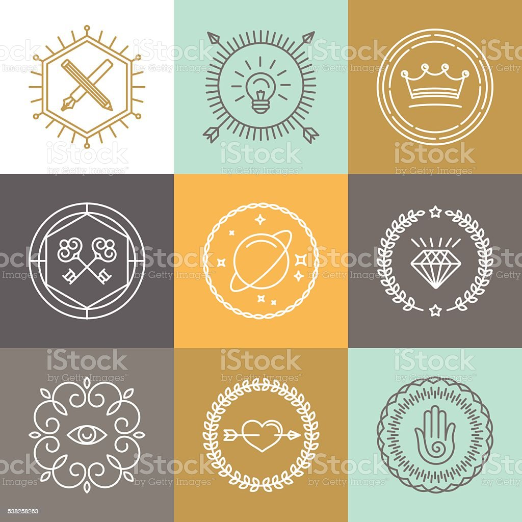 Vector abstract hipster signs and logo design elements vector art illustration