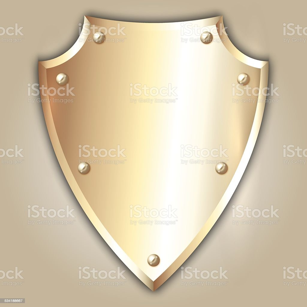 Vector abstract illustration of stainless steel shield vector art illustration
