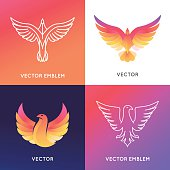 Vector abstract logo design template in bright gradient colors