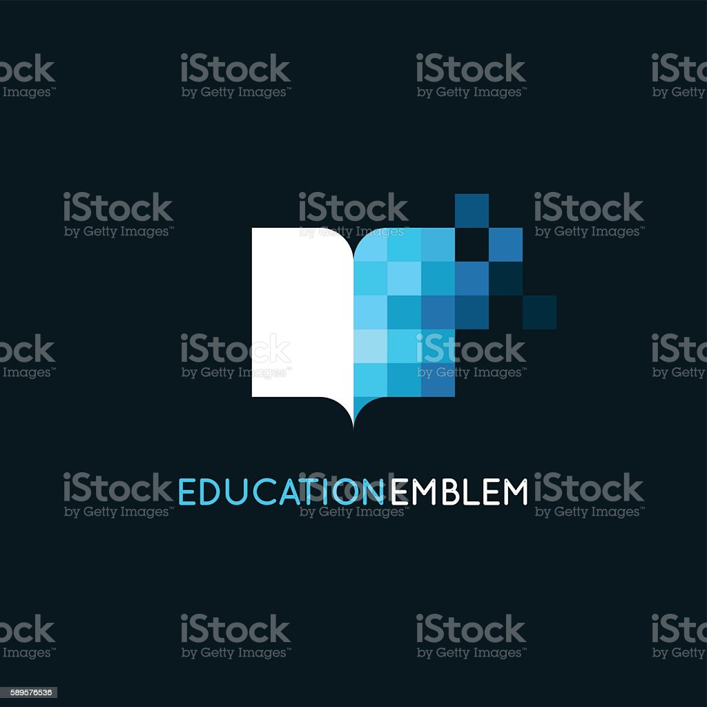 Vector abstract logo design template - online education and lear vector art illustration