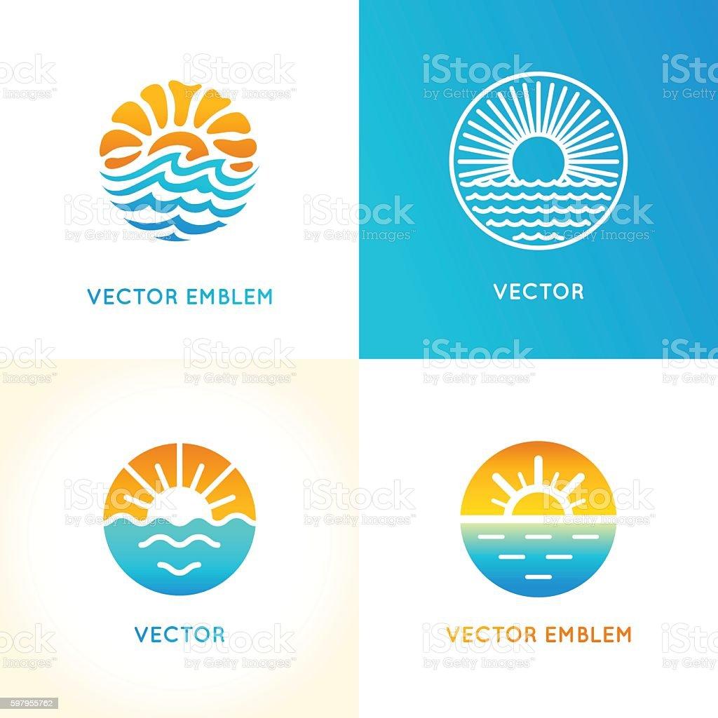 Vector abstract logo design template - sun and sea vector art illustration
