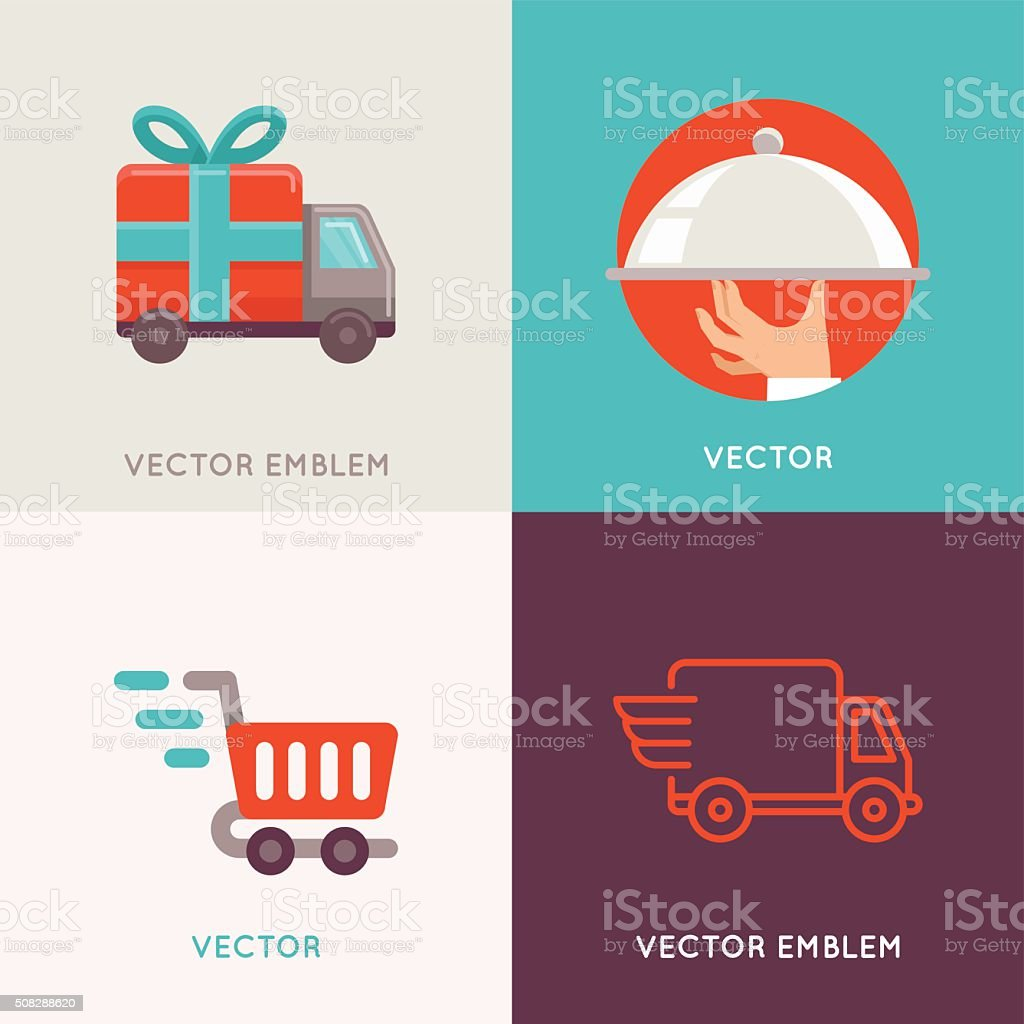 Vector abstract logo design templates in flat style vector art illustration