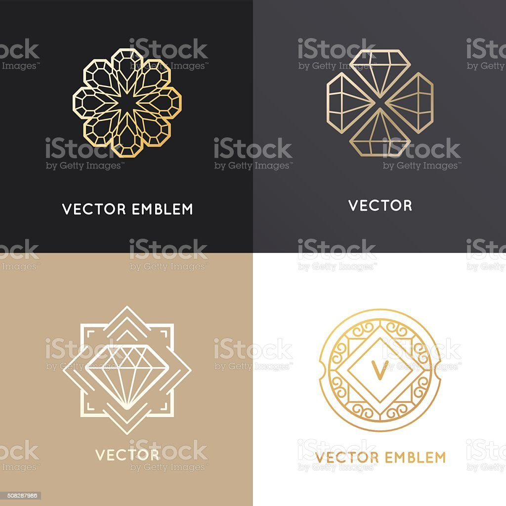 Vector abstract logo design templates in golden colors vector art illustration