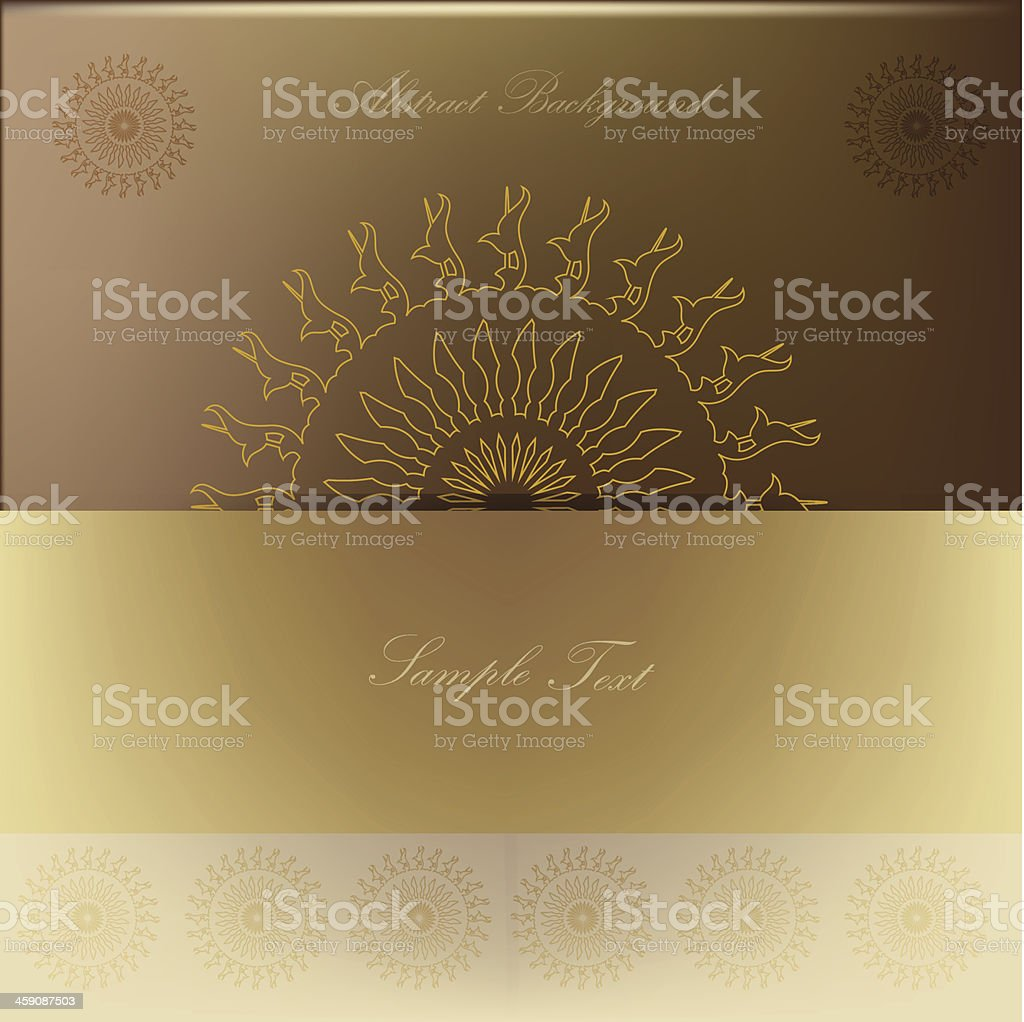 Vector abstract mandala background in gold royalty-free stock vector art