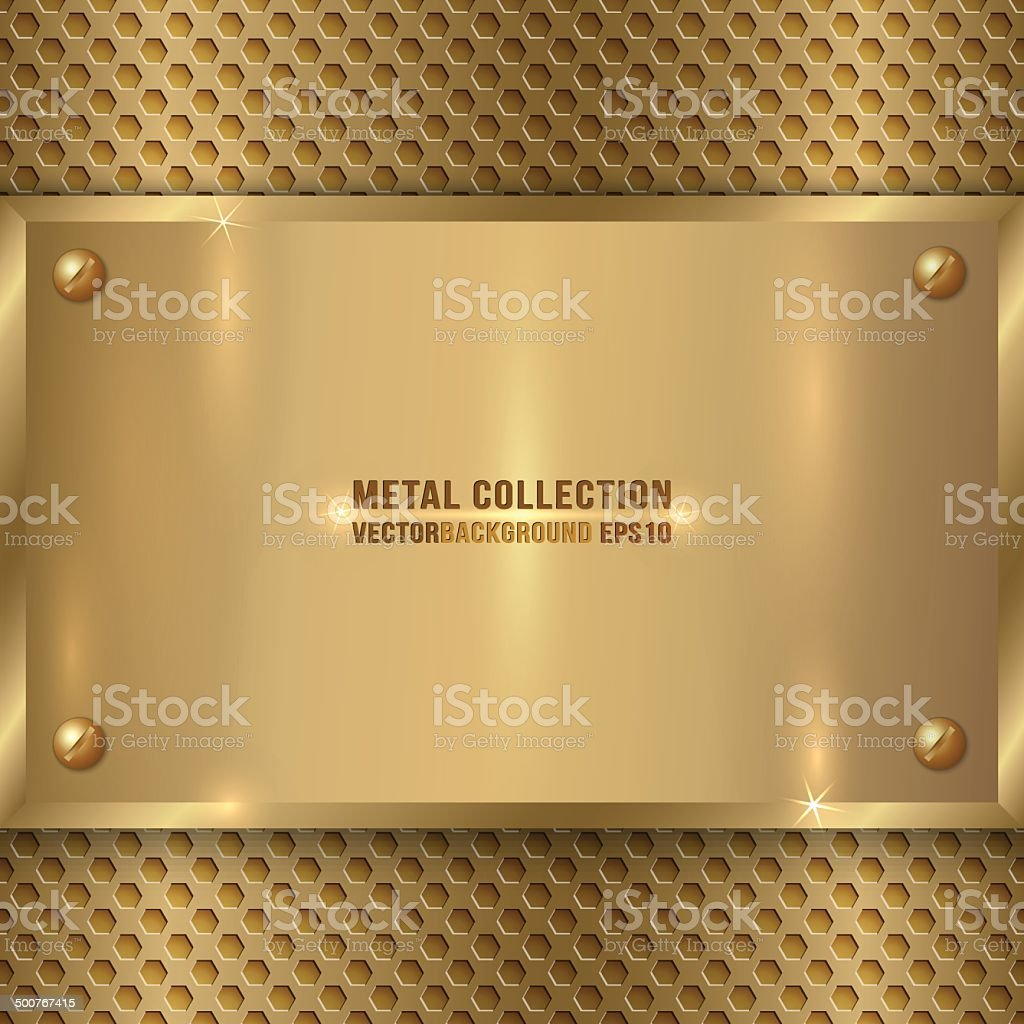 vector abstract metal old gold plaque on the cell grid vector art illustration
