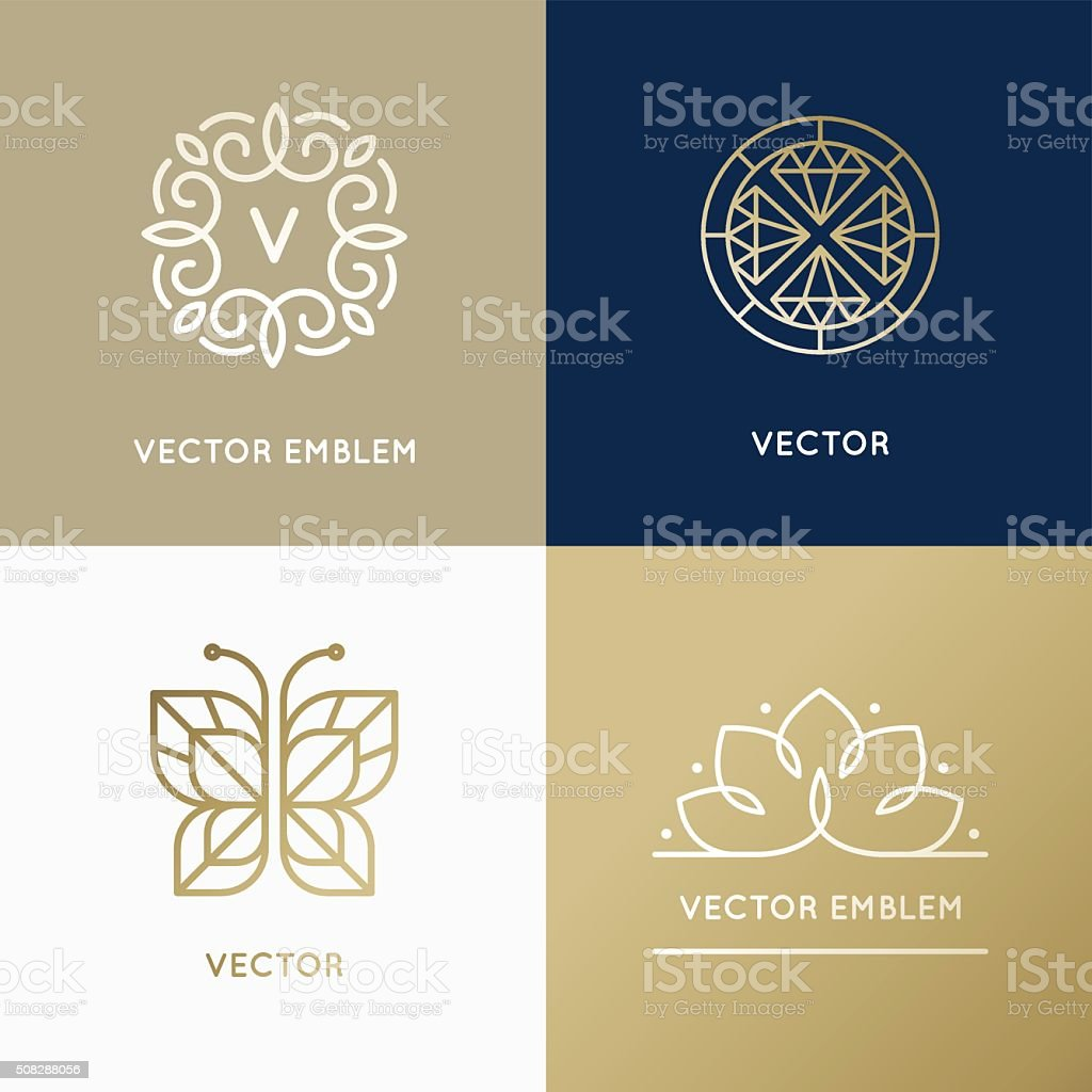Vector abstract modern logo design templates in trendy linear st vector art illustration
