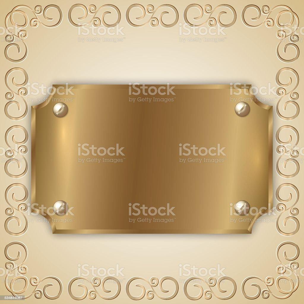 Vector abstract precious metal golden award plate vector art illustration