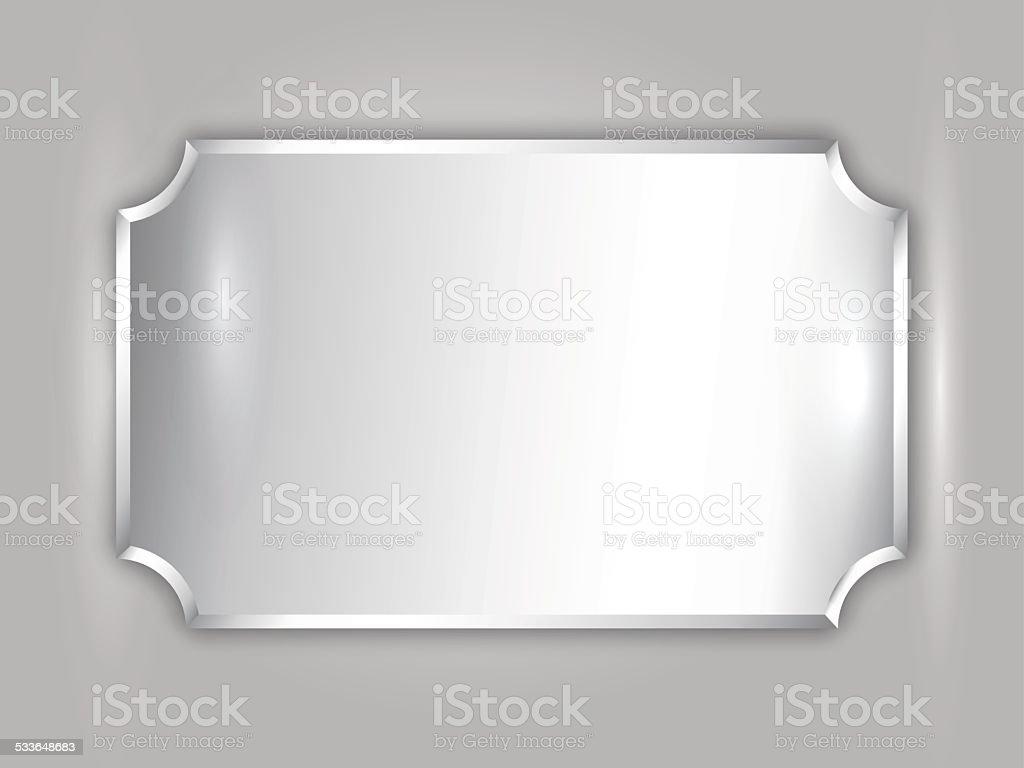 Vector abstract precious metal silver award plate vector art illustration