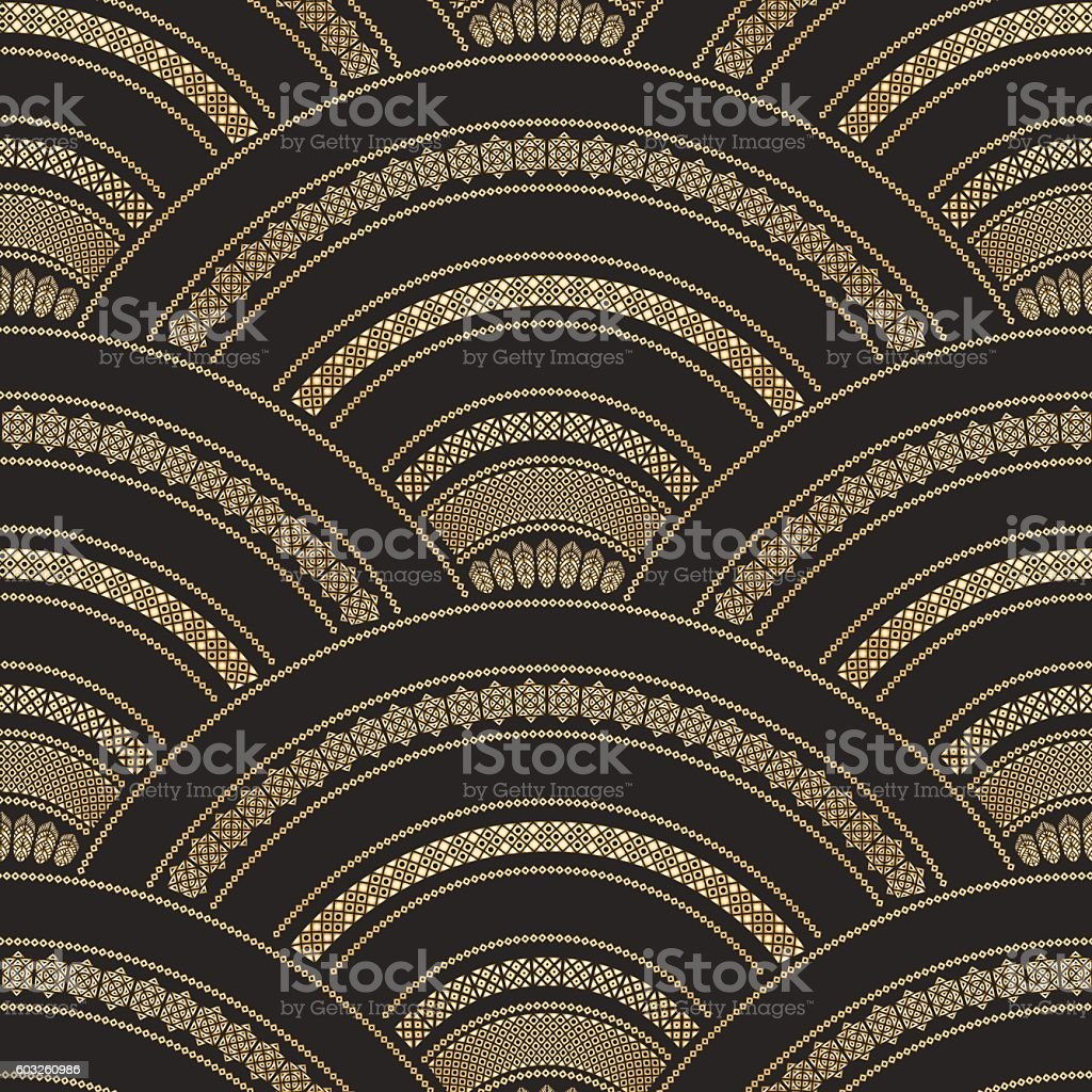 Vector abstract seamless golden and black wavy pattern vector art illustration