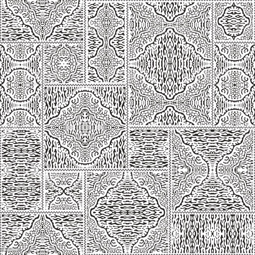 Vector abstract seamless patchwork pattern from black and white ethnic ornaments. Wallpaper background. Exotic batik, fantasy ikat tracery, textile print design, wrapping paper, album cover vector art illustration