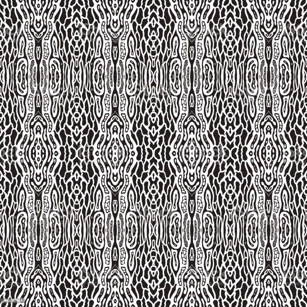 Vector abstract seamless pattern with black chaotic spots on a white background. Exotic batik, nature skin print, textile design, wallpaper ornament, wrapping paper, album cover, tribal decoration vector art illustration