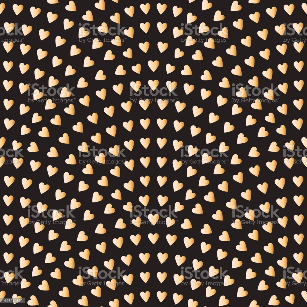 Vector abstract seamless wavy pattern with geometrical fish scale layout. Gold stylized  hearts on a dark black background. Fan shaped Valentine Day ornament. Holiday decoration. Wallpaper, holiday wrapping paper, textile design, batik paint vector art illustration