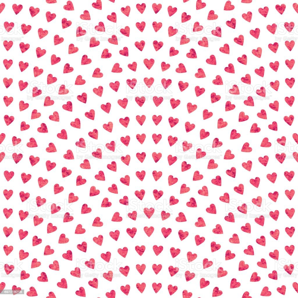 Vector abstract seamless wavy pattern with geometrical fish scale layout. Red mosaic stylized hearts  with watercolor painting texture on a light white background. Fan shaped Valentine Day ornament. Holiday decoration.Wrapping paper vector art illustration