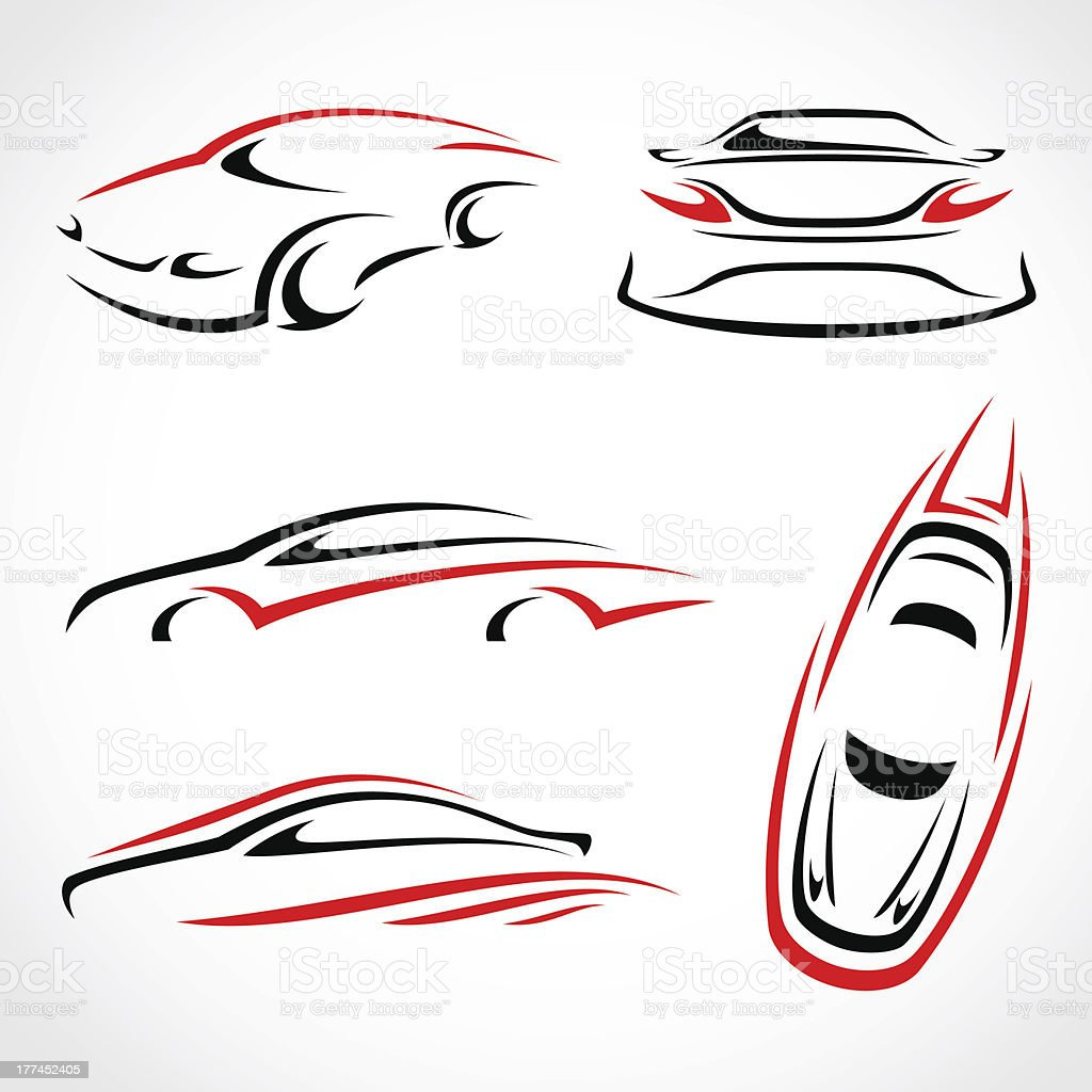 Vector abstract set of cars in red and black royalty-free stock vector art