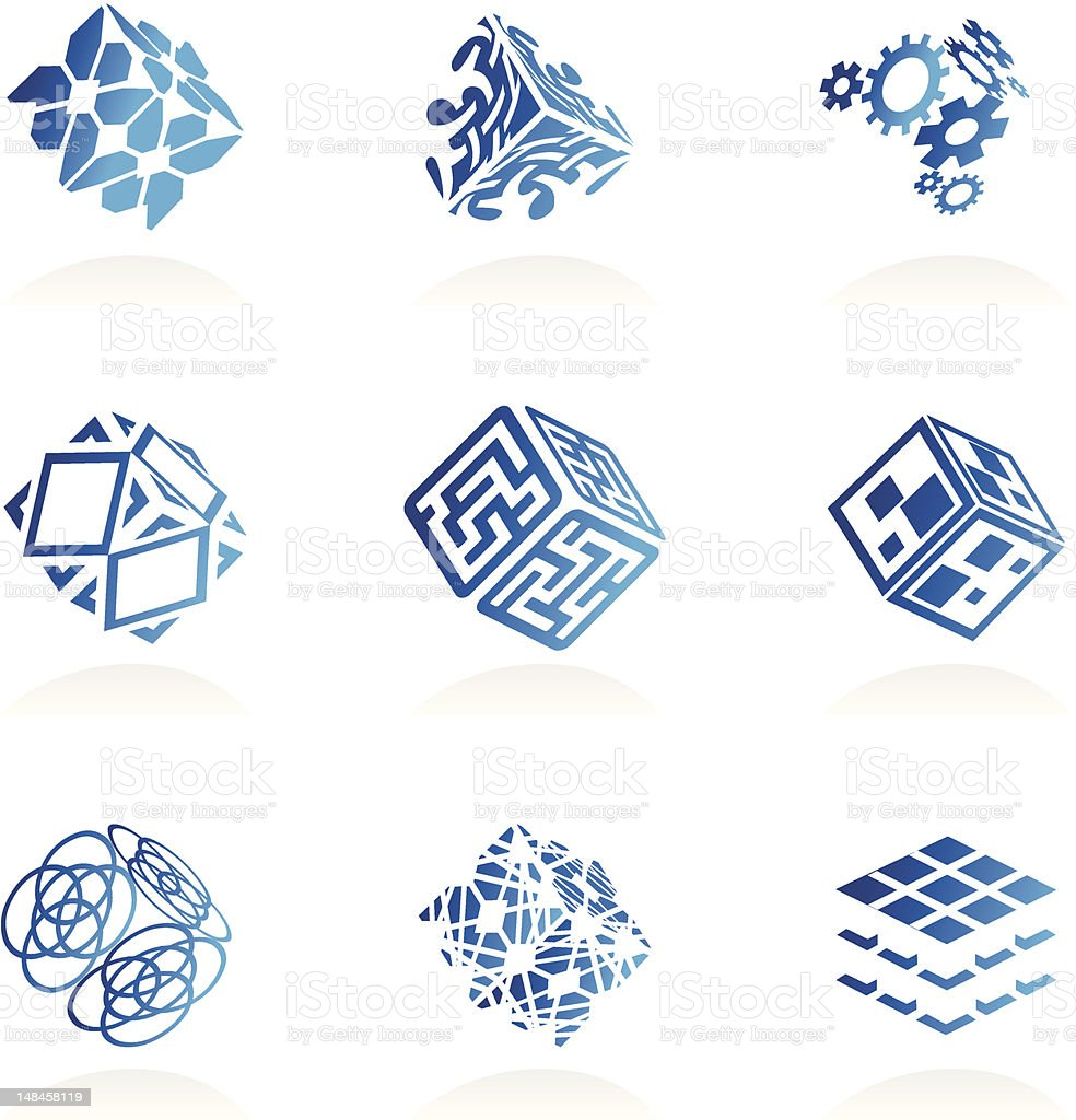 Vector abstract technology icons set royalty-free stock vector art