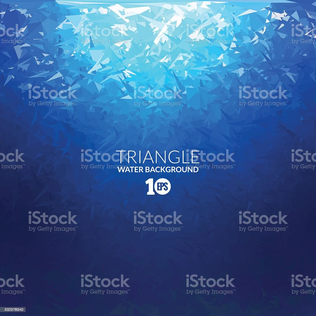 Vector Abstract triangle underwater background with sunlight vector art illustration