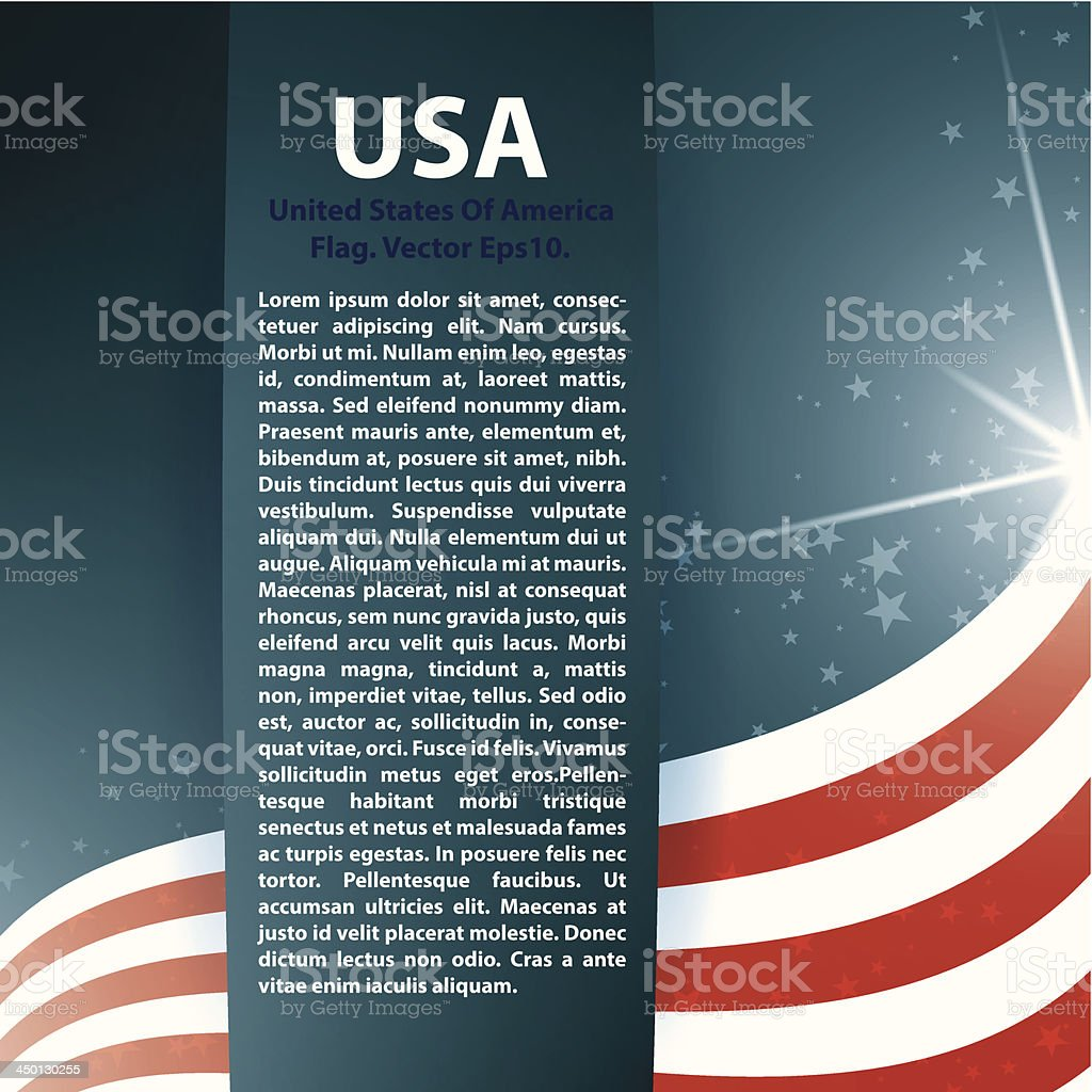 Vector abstract USA flag and stars with text vector art illustration