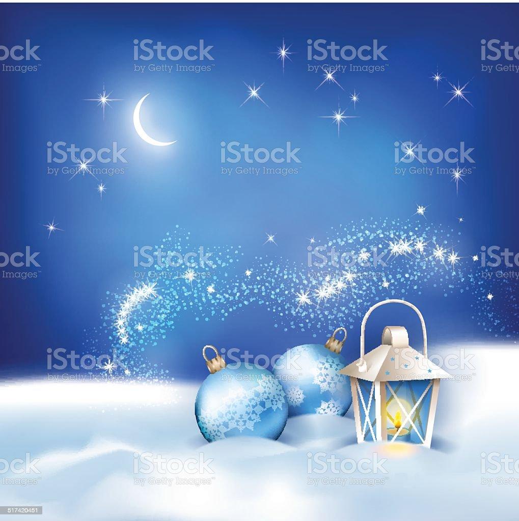 Vector Abstract Winter Night Background vector art illustration
