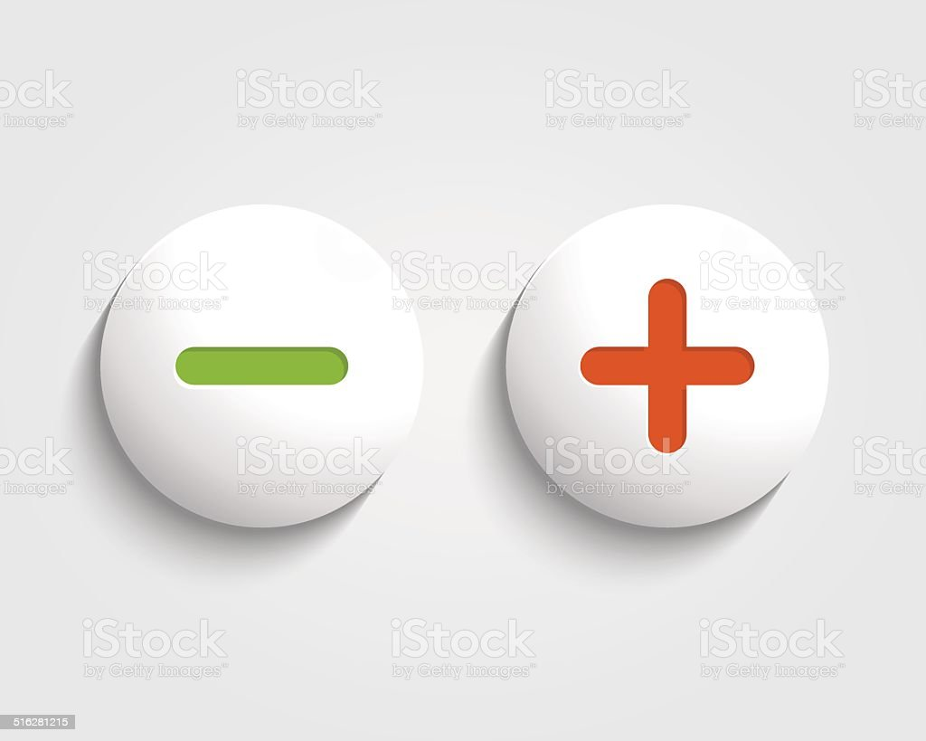 Vector add, cancel, or the plus and minus signs vector art illustration