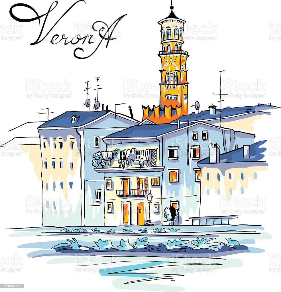 Vector Adige River Embankment in Verona, Italy vector art illustration