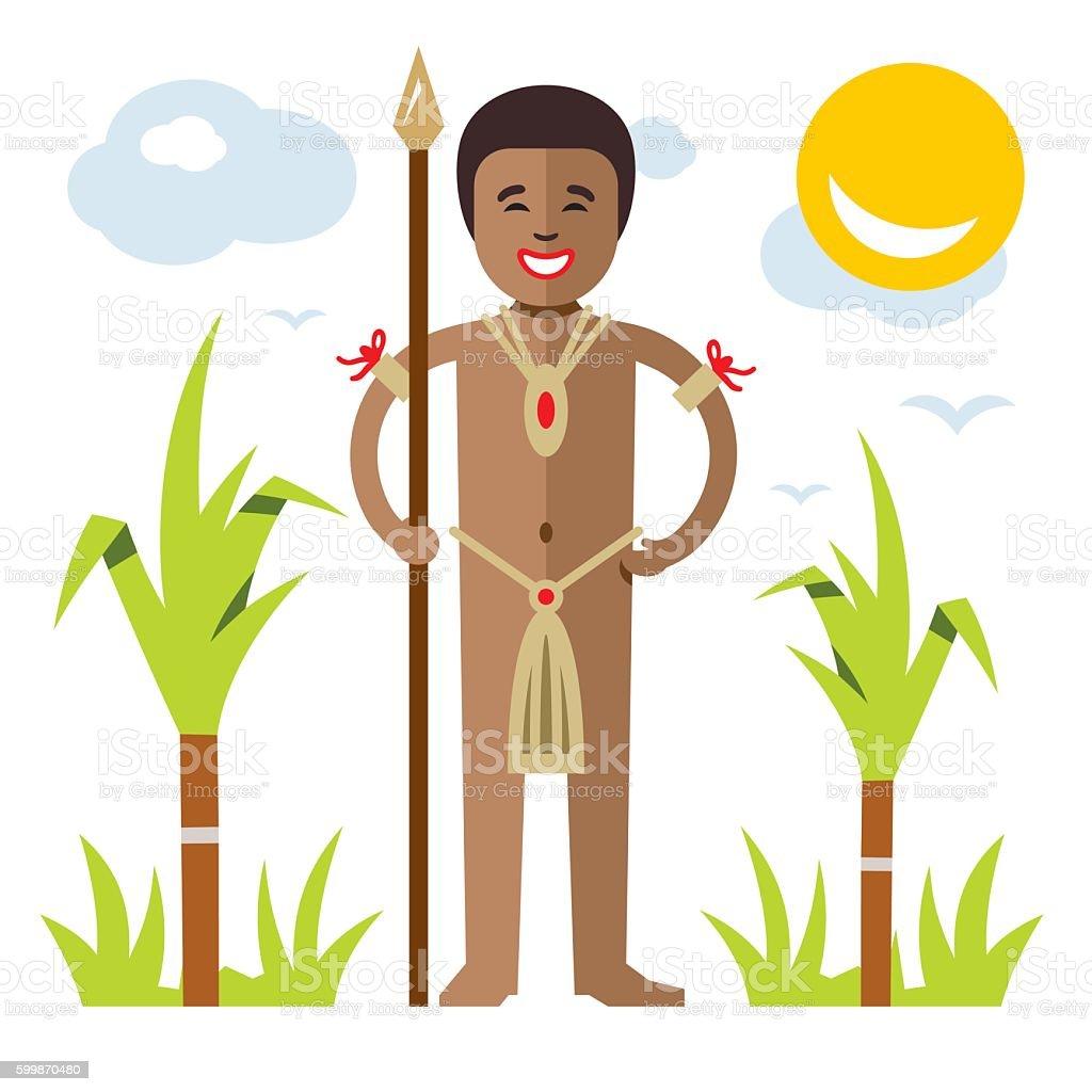 Vector African aborigine. Flat style colorful Cartoon illustration. vector art illustration