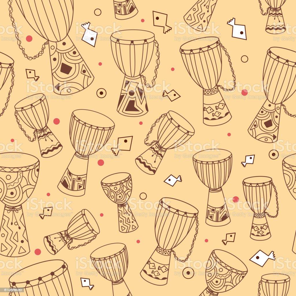 Vector african drum djembe seamless pattern vector art illustration