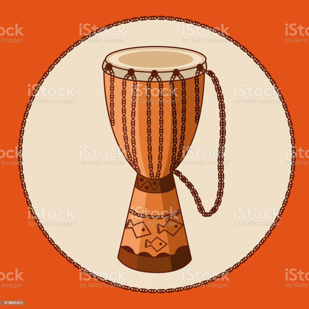 Vector african drum djembe vector art illustration