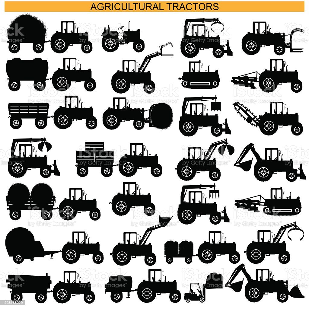 Vector Agricultural Tractor Pictograms vector art illustration