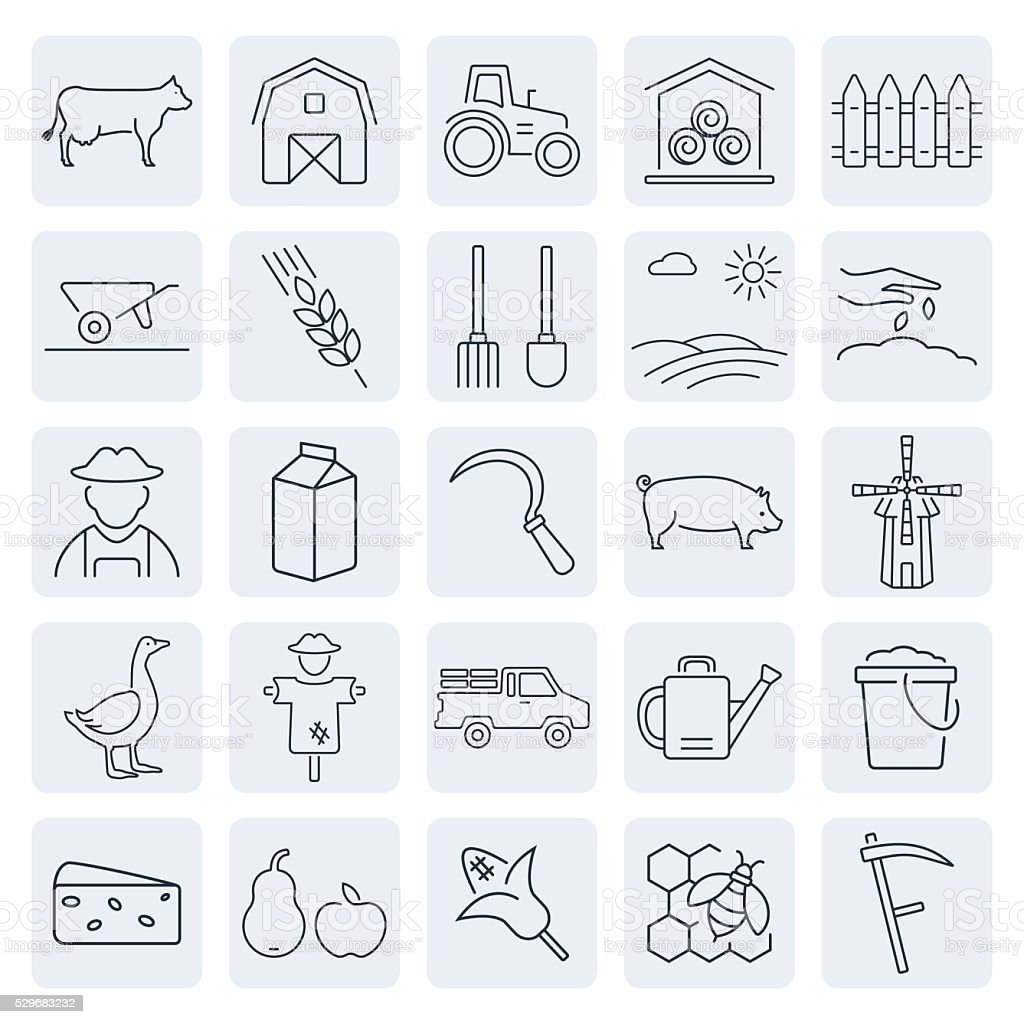 Vector agriculture and farming icons set. vector art illustration