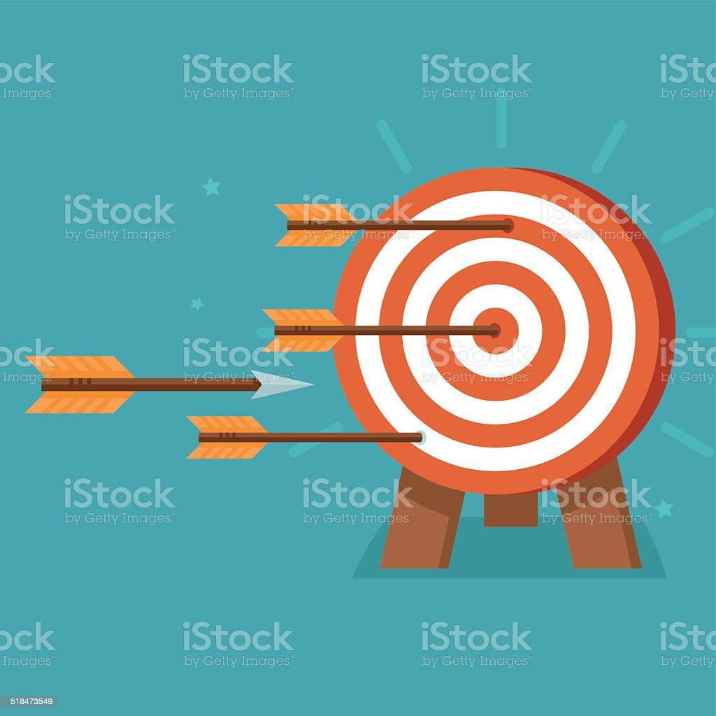 Vector aim with arrows on flat style vector art illustration