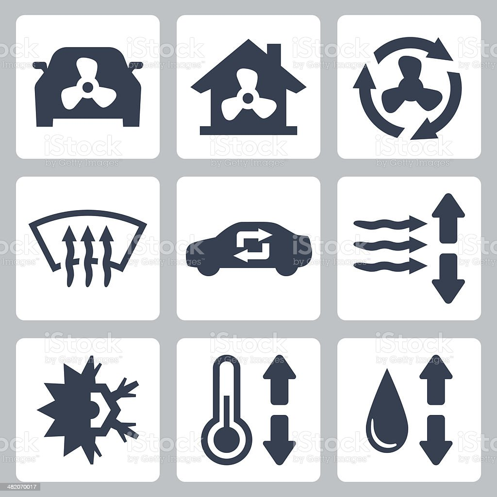 Vector air conditioning icons set vector art illustration