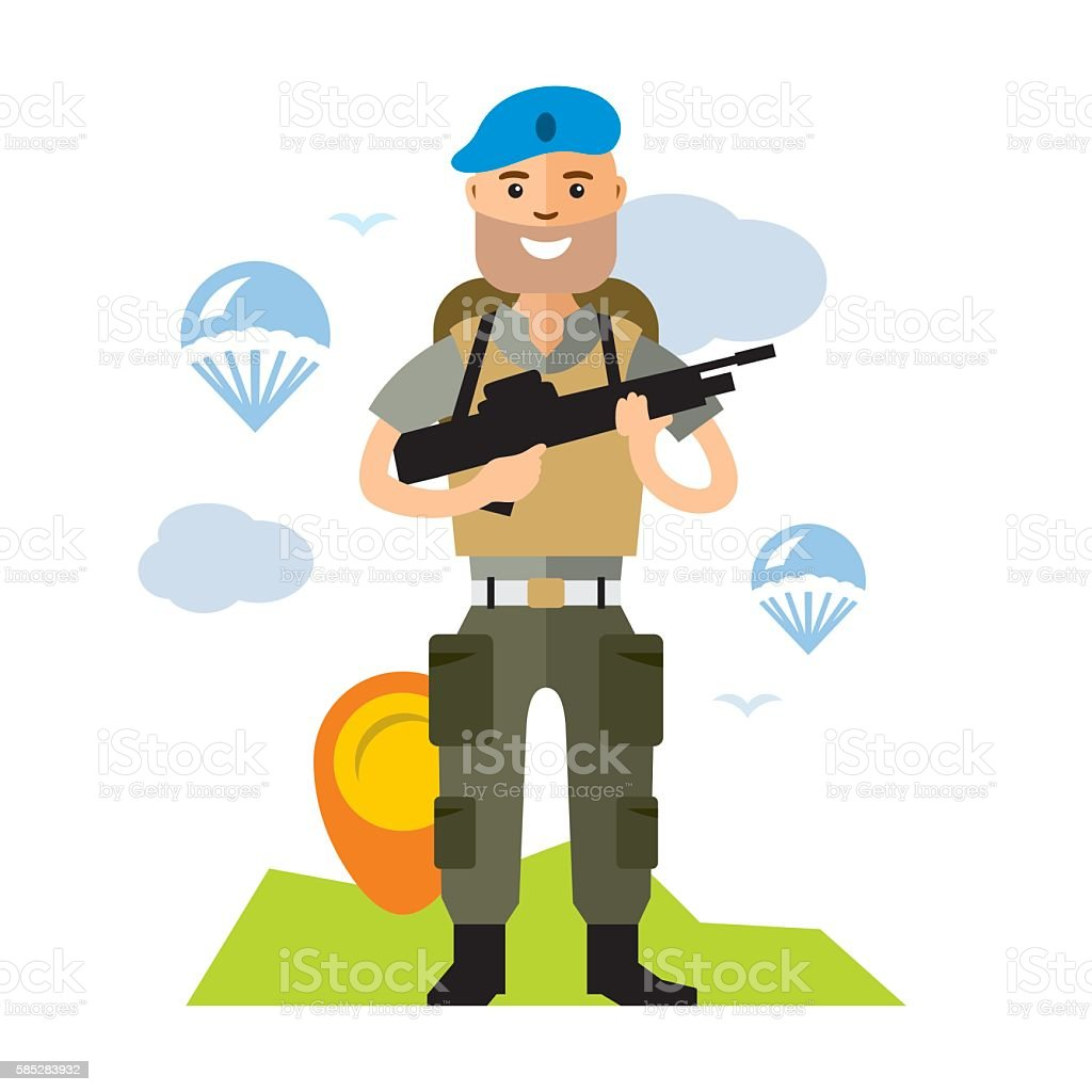 Vector Airborne troops. Flat style colorful Cartoon illustration. vector art illustration