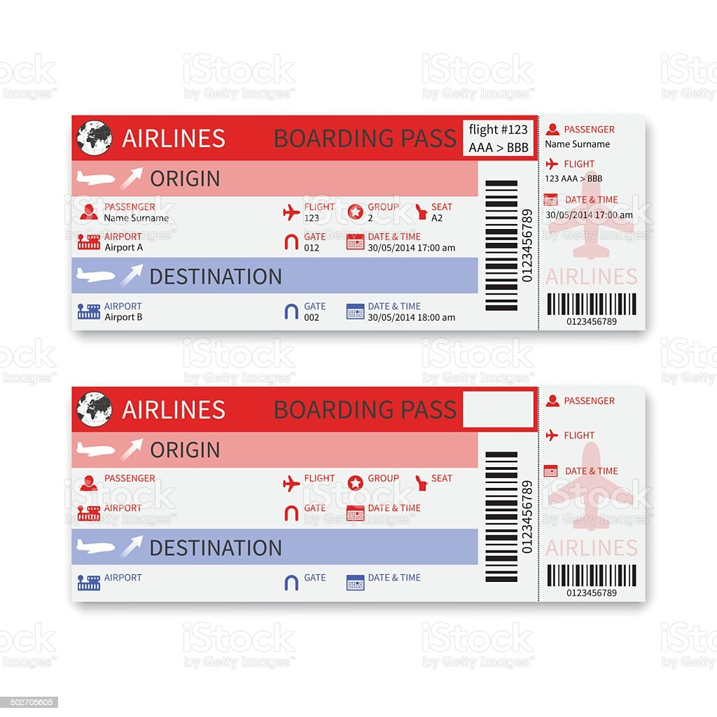 Vector airline boarding pass ticket isolated on white background. vector art illustration