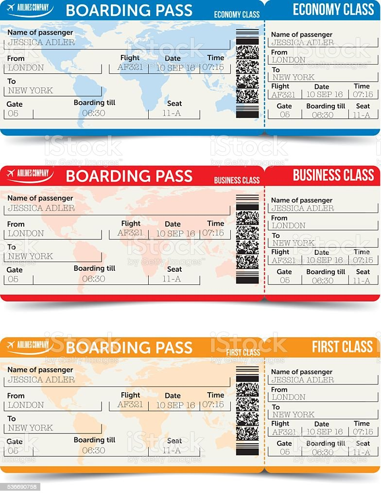 Vector airline passenger and baggage tickets with barcode vector art illustration
