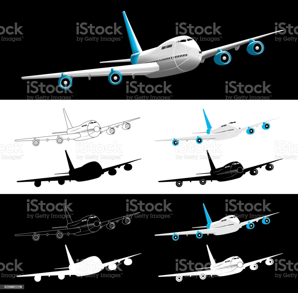 Vector Airplane 45 Degrees Front View Silhouette vector art illustration