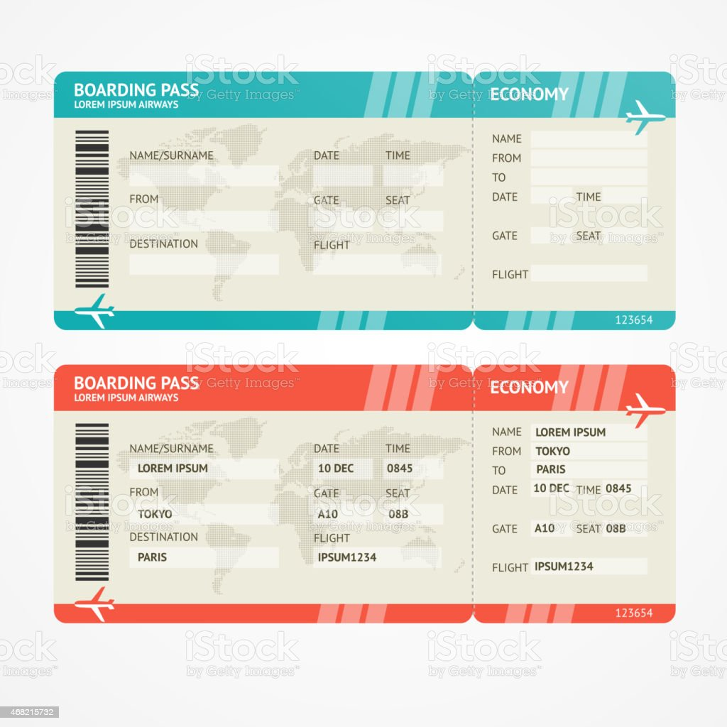Vector Airplane tickets vector art illustration