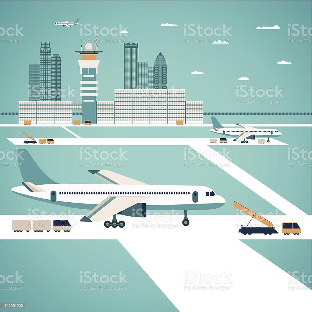 Vector airport concept vector art illustration