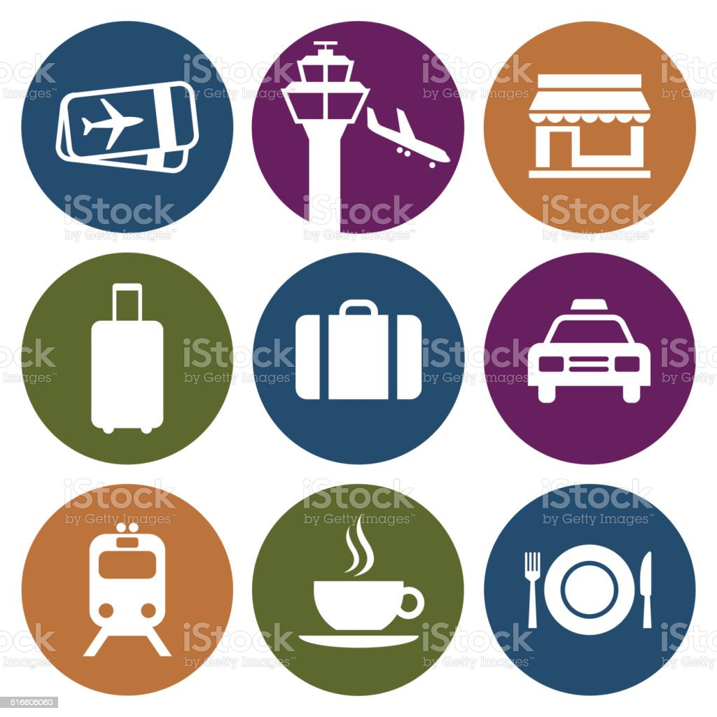 Vector Airport Icons vector art illustration