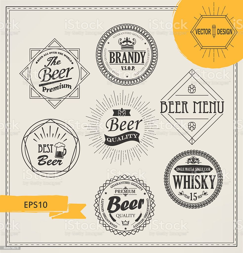 Vector alcohol logos and emblems in outline style. vector art illustration