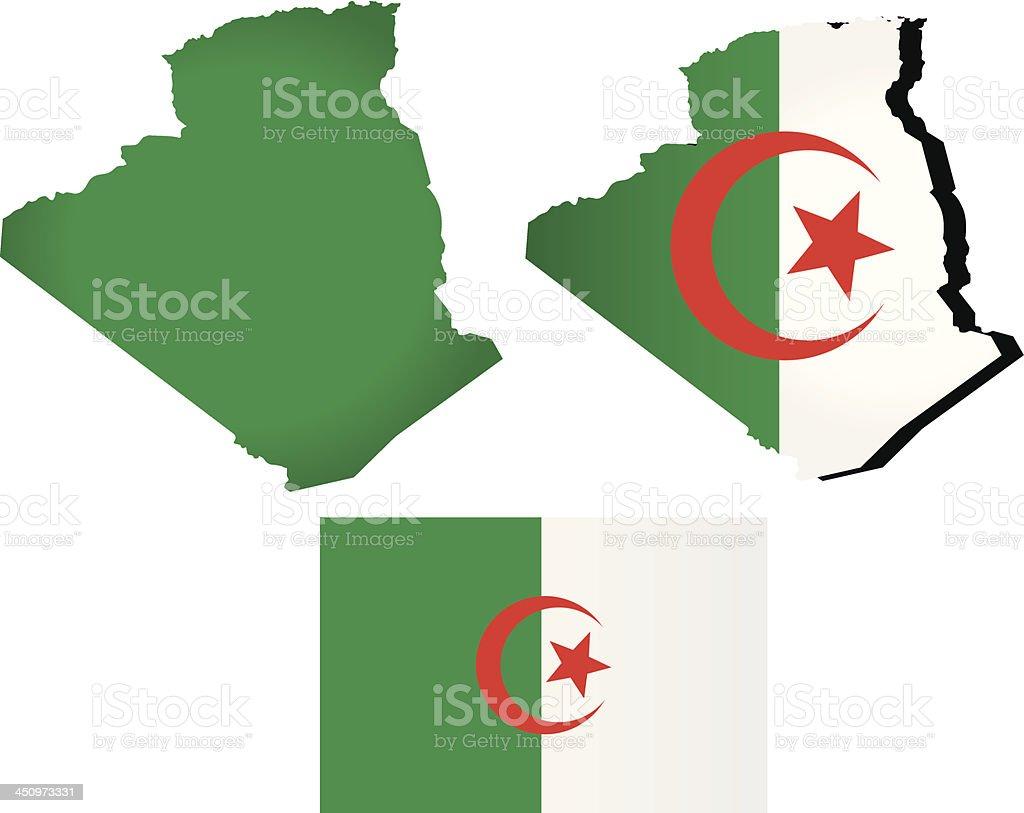Vector Algeria map with flag vector art illustration