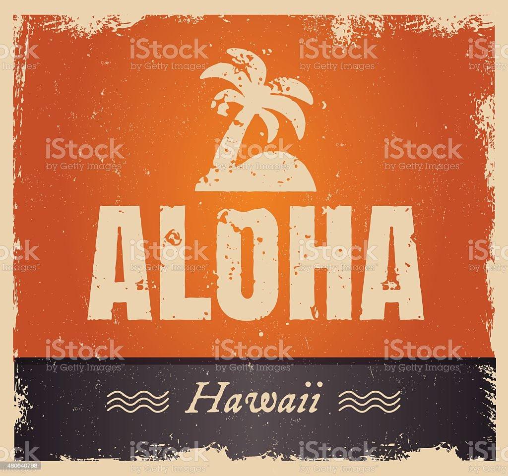 Vector aloha word in vintage colors, retro background vector art illustration