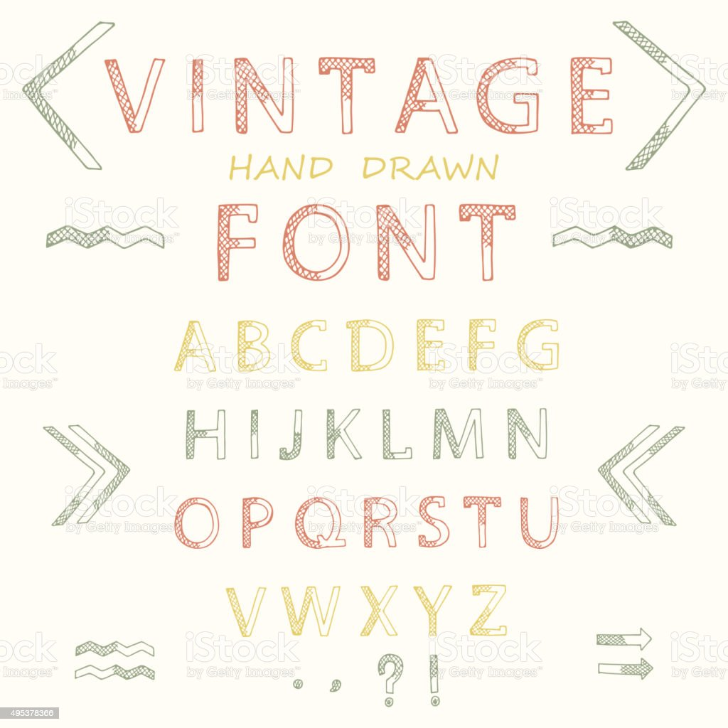 Vector Alphabet. ABC. Hand drawn decorative vintage letters vector art illustration